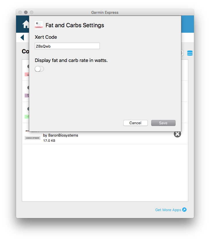 Fat and Carbs Config Screen